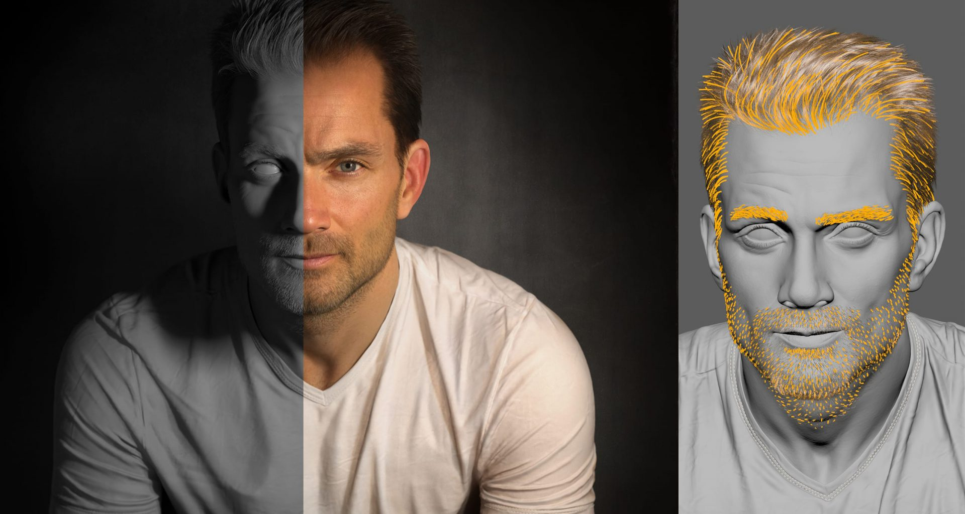 A breakdown of the portrait of Scott Eaton by Ian Spriggs, 3D artists specialized in digital humans