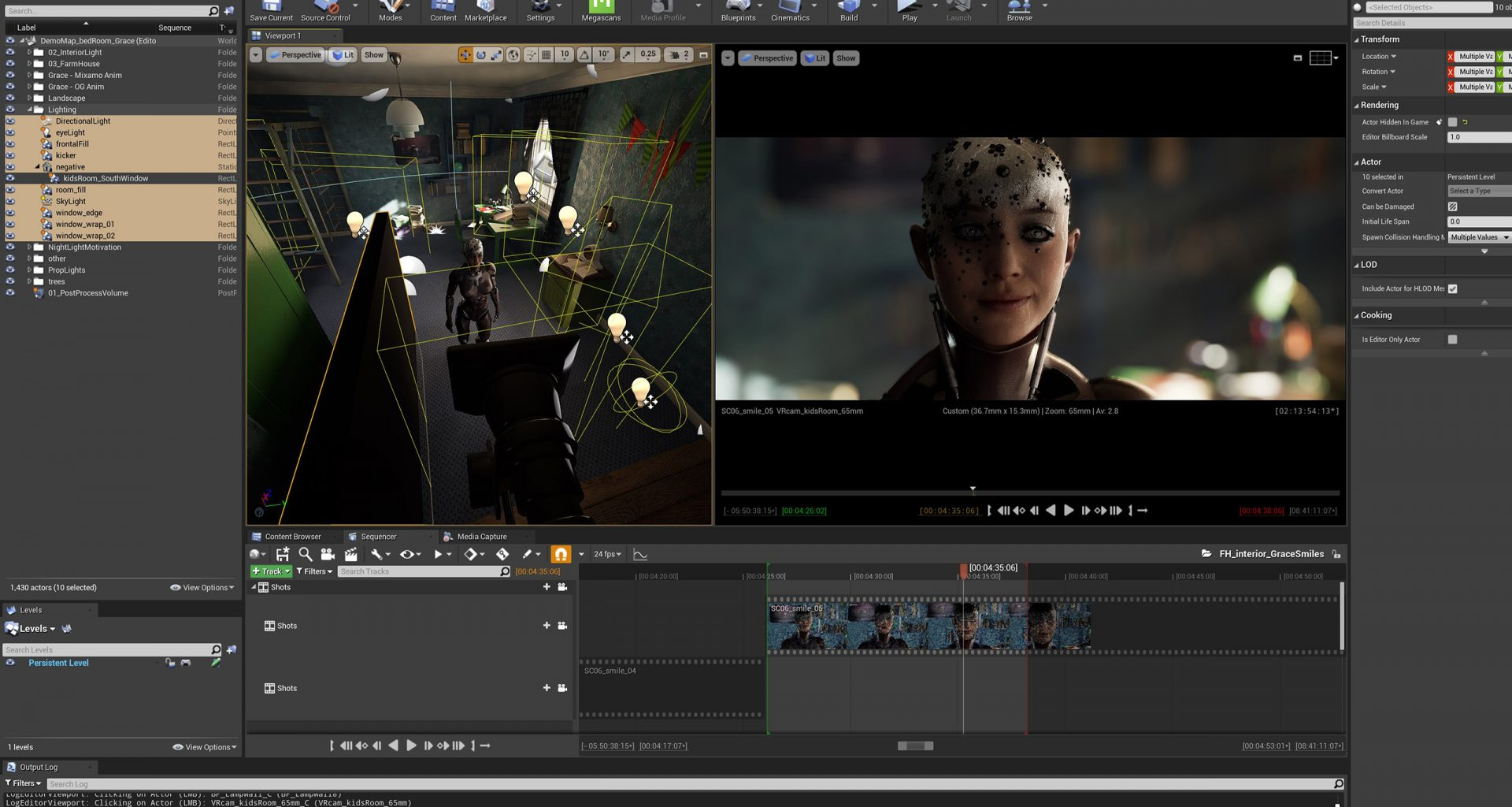 In-engine lighting setup in Unreal for Nemosyne